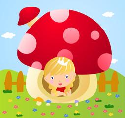 Little fairy in mushroom house