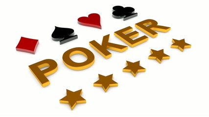 Golden word POKER , card sign and stars motion