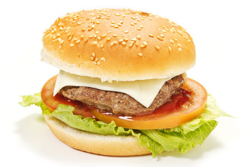 Hamburger isolato su sfondo bianco
