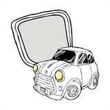 retro Mini car with lable cartoon vector