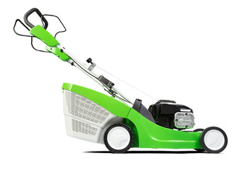 Green lawnmower isolated on white background.