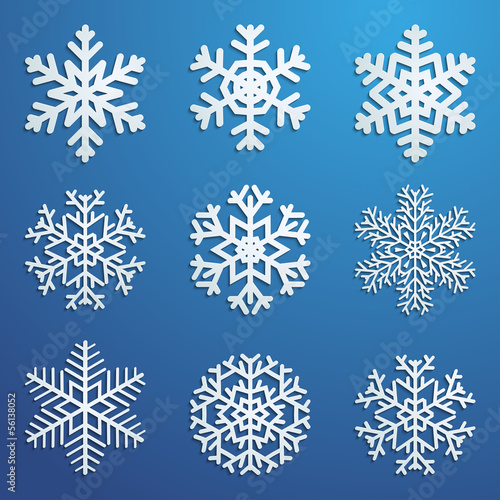 Set of snowflakes with shadows