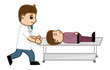Emergency Concept - Doctor Pushing Patent on Stretcher - Medical