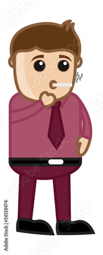 Cigarette Smoking - Medical Cartoon Vector Character