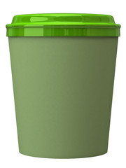Green takeaway coffee cup