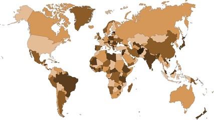 farbige Weltkarte