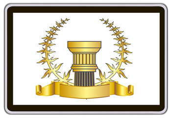 tablet pc computer. gold laurel wreath, ribbon, pillar