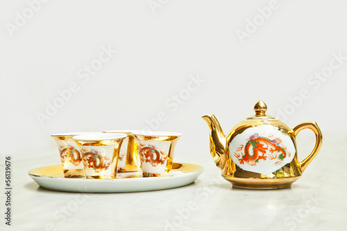 Gold chinese tea set