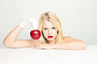 beauty holding red apple
