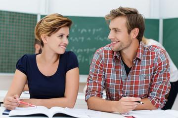 happy couple in the uni