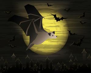 Happy halloween card with dark bat, vector illustration