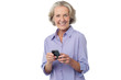 Aged woman texting on her mobile phone