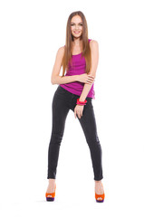 Full body young girl with long hair is in fashion style posing