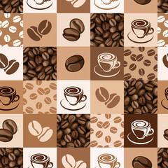 Seamless pattern with coffee beans and cups. Vector illustration