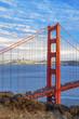 vertical view of famous Golden Gate Bridge
