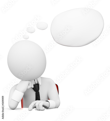 3D white people. Businessman with thought bubble