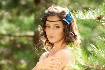 Beautiful girl on nature. Beautiful Young girl Outdoors. Enjoy H