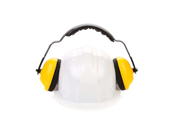 Protective ear muffs and hard hat.