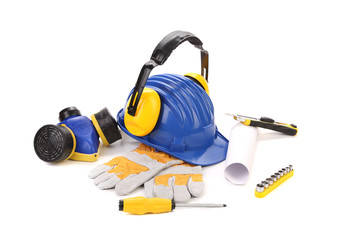 Various worker safety equipment or gear isolated