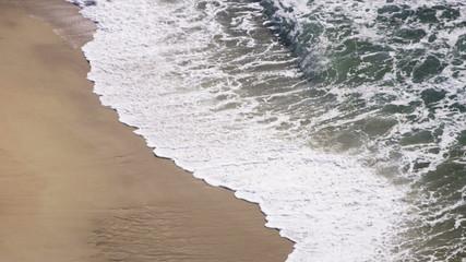 Slow Motion Shallow Aqua Ocean Waves Sand Beach