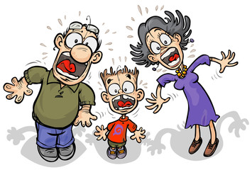 Cartoon Family with shocked expressions.