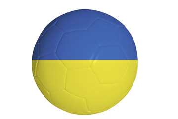 Ukrainian flag graphic on soccer ball