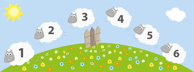 Jumping sheeps with numbers- vector illustration