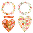floral wreathand and heart
