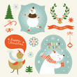 set of christmas and new year's graphic elements