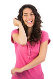 Smiling brown haired woman gesturing