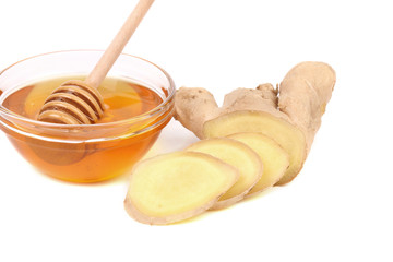 Root Ginger sliced and bow of honey.