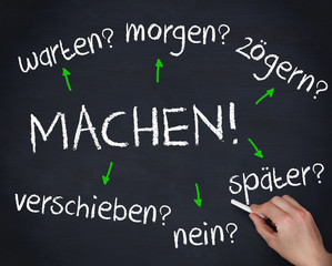 Hand writing several german question words with a chalk