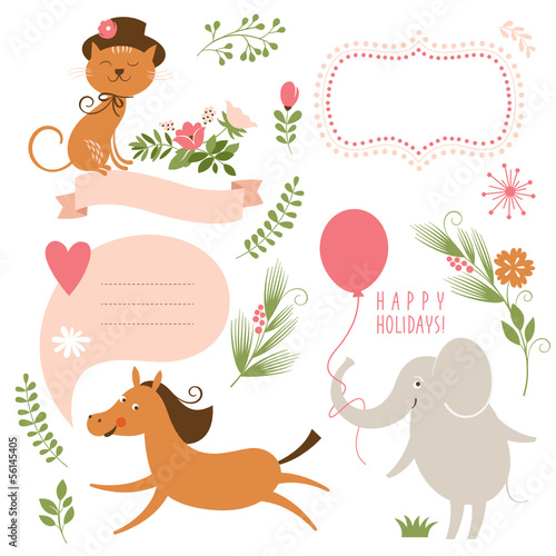 set of cartoon animals and graphic elements