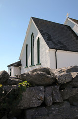 white small church in Inisheer, Aran Island, Ireland