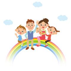 虹に乗っている家族