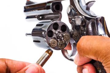 handgun revolver with bullets