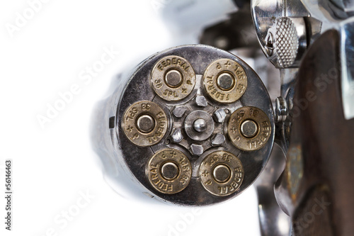 Bullets in handgun revolver