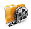 Movie folder with a films spool. 3D Icon isolated on white