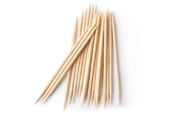 Heap of double sharp toothpicks. Top view.