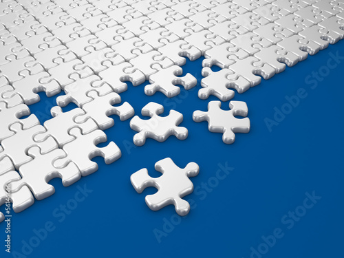 Damaged assembling of puzzle. 3D Illustration on blue background