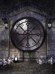 Gotyckie okno z czaszkami i świecami