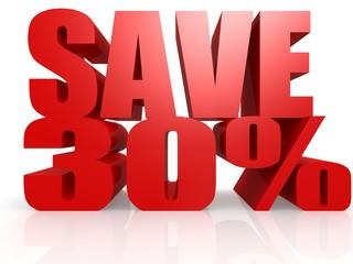 Save 30 percent