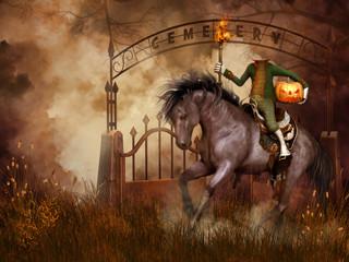 Jeździec bez głowy na tle cmentarnej bramy