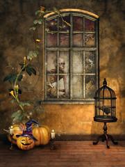 Pokój z klatką, krukiem i dyniami na Halloween