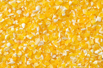 Closeup of tinned whole kernel corn,
