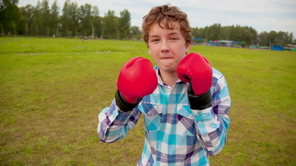 The boy in boxing gloves in a meado