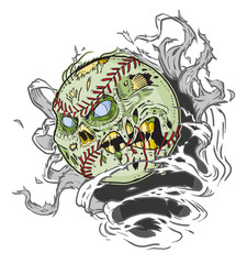 Zombie Baseball Ripping out of Background Vector Cartoon