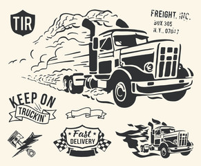 Isolated vintage truck delivery theme on off white background.