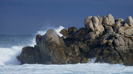 Offshore Waves Pounding Rocky Coastline