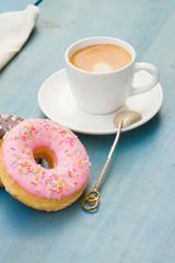 donuts with black  espresso coffee